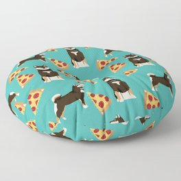 shiba inu pizza black and tan dog breed pet pattern dog mom Floor Pillow