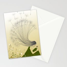 the girl with dandelion hair Stationery Cards