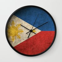 philippines Wall Clocks featuring Old and Worn Distressed Vintage Flag of Philippines by Jeff Bartels