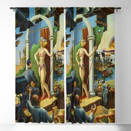 Classical Masterpiece 'Hollywood' by Thomas Hart Benton Blackout Curtain