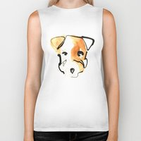 jack russell Biker Tanks featuring Jack Russell by Jen Moules