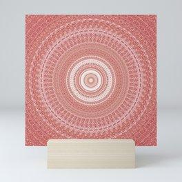 Pastel Peach White Boho Chic Mandala Mini Art Print
