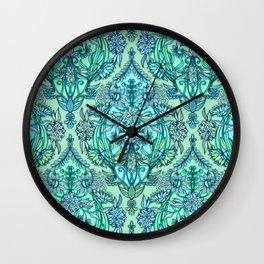 Botanical Moroccan Doodle Pattern in Mint Green, Lilac & Aqua Wall Clock