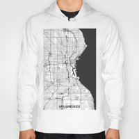 milwaukee Hoodies featuring Milwaukee Map Gray by City Art Posters