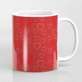 Bright ruby red fancy abstract love style pattern with fine golden hearts and bubbles Coffee Mug