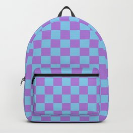 Lavender Violet and Baby Blue Checkerboard Backpack
