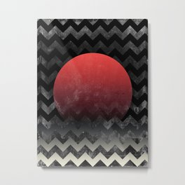 Red Sun in Geometric Waves Metal Print