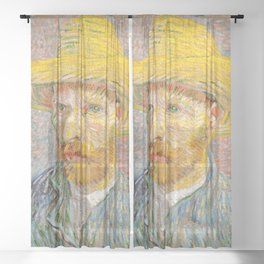Self-Portrait with a Straw Hat - Vincent Van Gogh Sheer Curtain