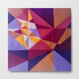 Mountains 80s retro abstract landscape - Purple, Orange & Pink Metal Print