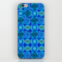 Blue Circles Abstract Art by Sharon Cummings iPhone Skin
