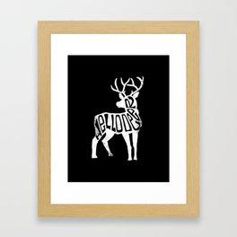 Hello Deer - White Deer Framed Art Print
