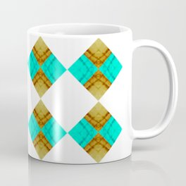 Offset Blue and Gold Diamonds Coffee Mug