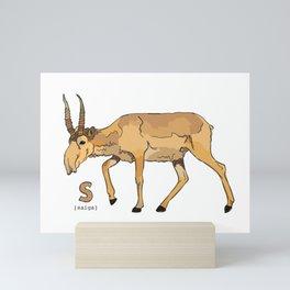 Funky Animal Alphabet: S is for Saiga Mini Art Print
