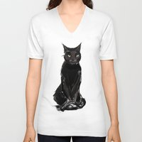 black cat V-neck T-shirts featuring Black Cat by Jaleesa McLean