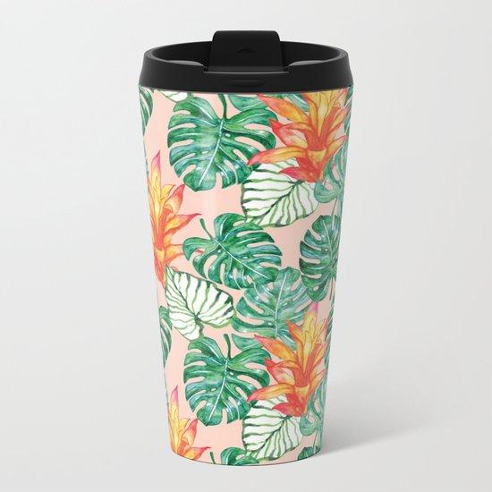 Peach tropical floral Metal Travel Mug