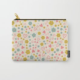 Pastel Daisy Flowers and Hearts Carry-All Pouch