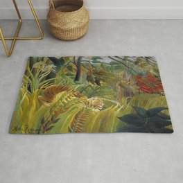 """Henri Rousseau,"""" Tiger in a Tropical Storm (Surprised!) """" Rug"""