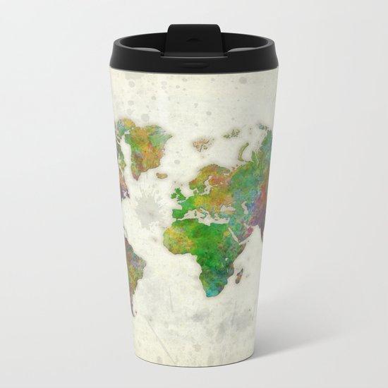World Map Color Metal Travel Mug
