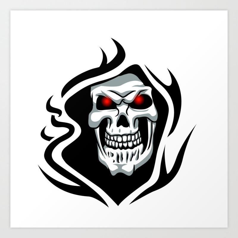 Skull Tribal Tattoo Art Print By Marios Society6
