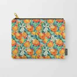 Watercolor mandarine orange fruit with leaves and blossom seamless pattern on white background. Orange citrus tree. Mandarin bloom. Tangerine, leaf, flower in retro style. Hand painted illustration Carry-All Pouch