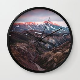 Multicoloured Hills of Landmannalaugar, Iceland Wall Clock