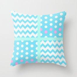 Pastel Chevron/Polkadot 1 #ArtofGaneneK #Blue #Pink Throw Pillow