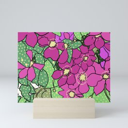 Swirling vines of Clematis in shades of pink and green Mini Art Print