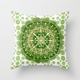 Emerald Green and Gold Mandala Overlay Textile Throw Pillow