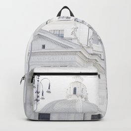 Antique Rome city walls, abstract white church art Backpack