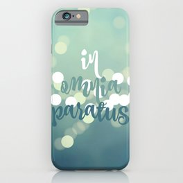 In Omnia Paratus - Teal Ombre Bokeh iPhone Case