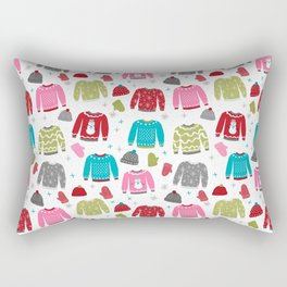 Sweaters festive outfit skiing winter sports cross country ski ugly sweater party Rectangular Pillow