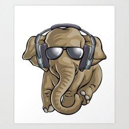 Cute Baby Elephant DJ Art Print