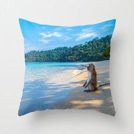 Monkey on the Beach Throw Pillow
