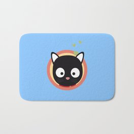Black Cute Cat With Hearts Bath Mat