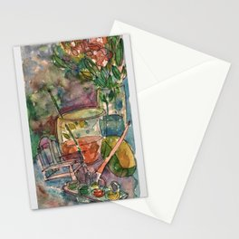 Flowers and paints.. Stationery Cards