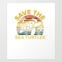 Save Sea Turtle Lover Shirt Vintage Skip a Straw Ocean Gift Art Print
