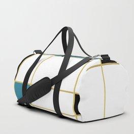 MidCentury Modern Art Aqua Gold Black Duffle Bag