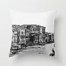 Along the Grand Canal b&w Throw Pillow