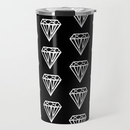 Bijou - geometric gem diamond pattern in black and white Travel Mug
