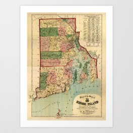 Map of Rhode Island and Providence Plantations (1880) Art Print