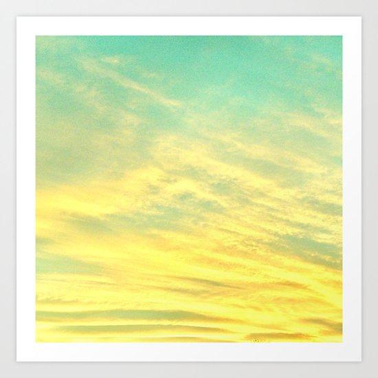 Green Yellow Sunset Art Print
