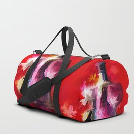 Fun Colorful Modern Wine Art (wine bottle & glasses) #society6 #wine Duffle Bag