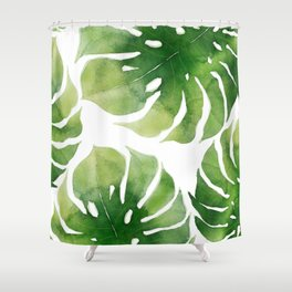 Monstera watercolor I Shower Curtain