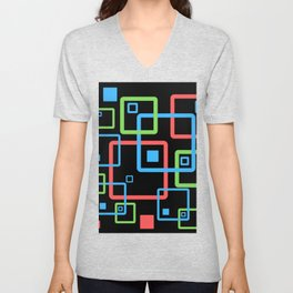 multicolor geometric squares Unisex V-Neck