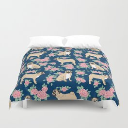Pug florals rose pattern minimal modern pet friendly dog breed custom pet art Duvet Cover