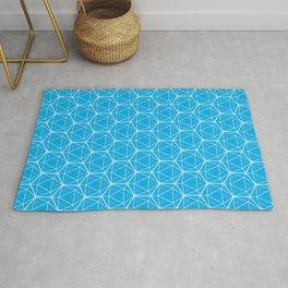 Icosahedron Pattern Bright Blue Rug