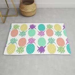 pineapple tropical colors white background Rug