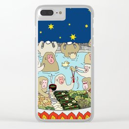 Snow Monkeys in Hot Spa Clear iPhone Case
