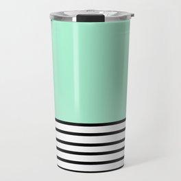Fresh Mint Black and White stripes pattern Travel Mug