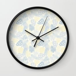 Tropical Leaves Pattern Yellow And Grey Wall Clock